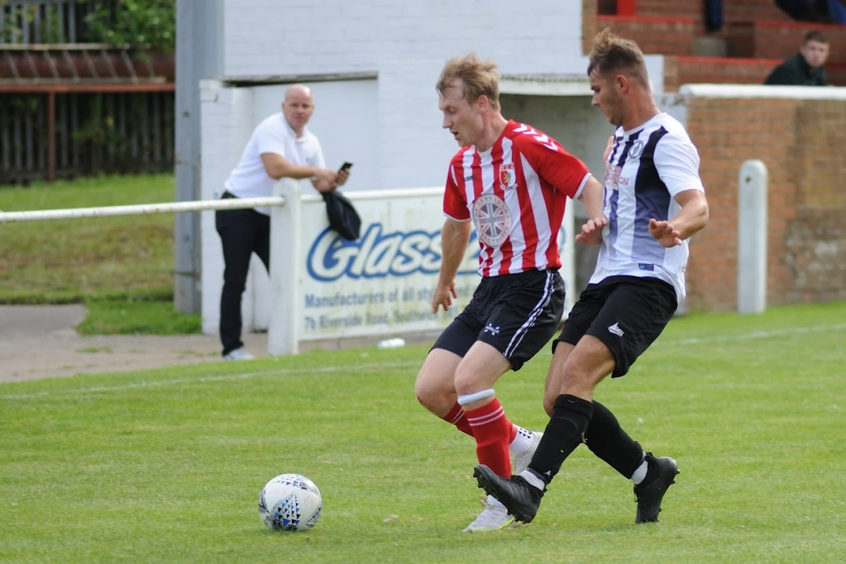 AJ on the attack in the second half of the match against Northallerton Town