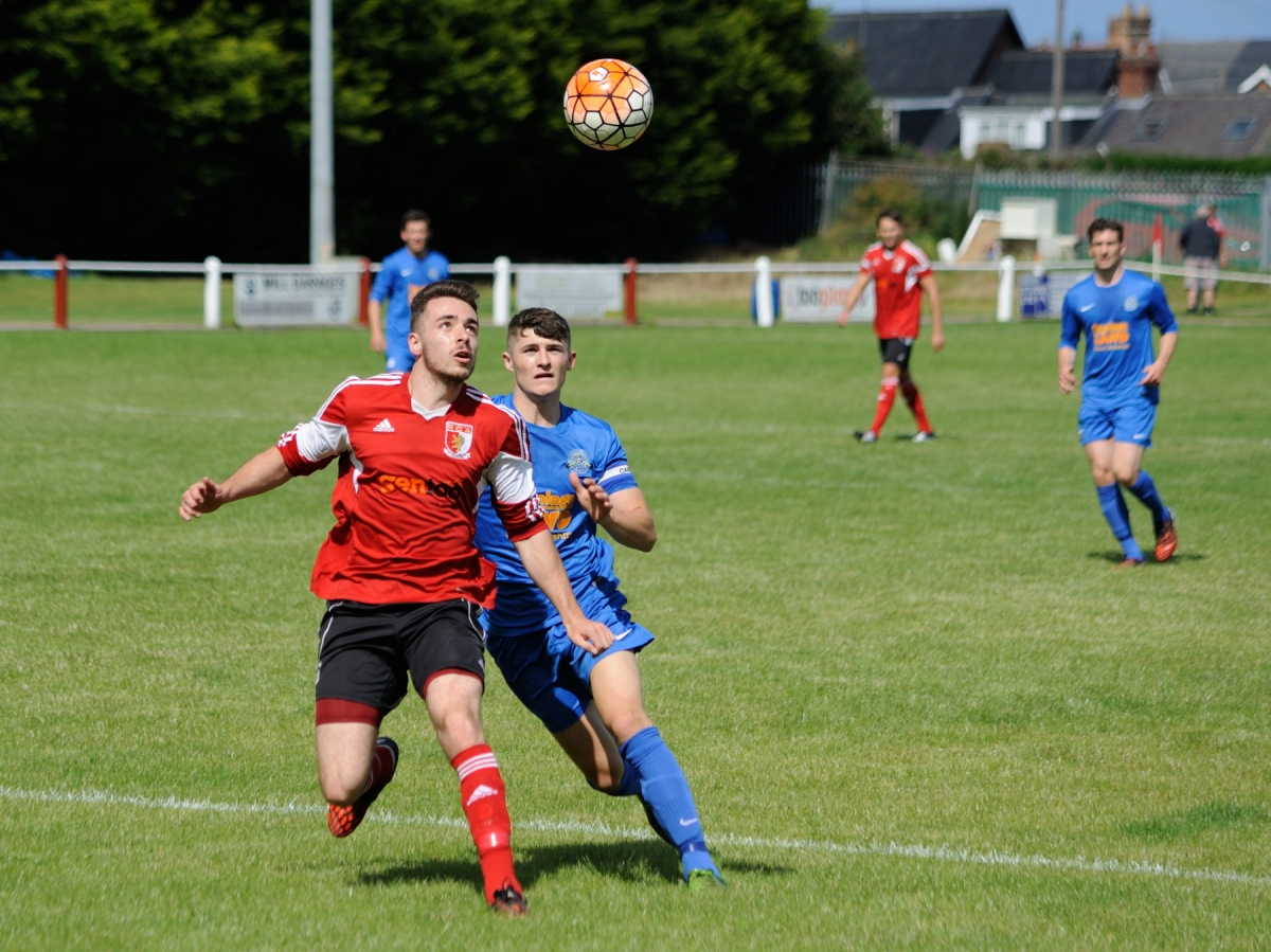 Stephen Callen taking on the Pickering Town defence before scoring one of RCA's three goals. Photograph by Simon Mears