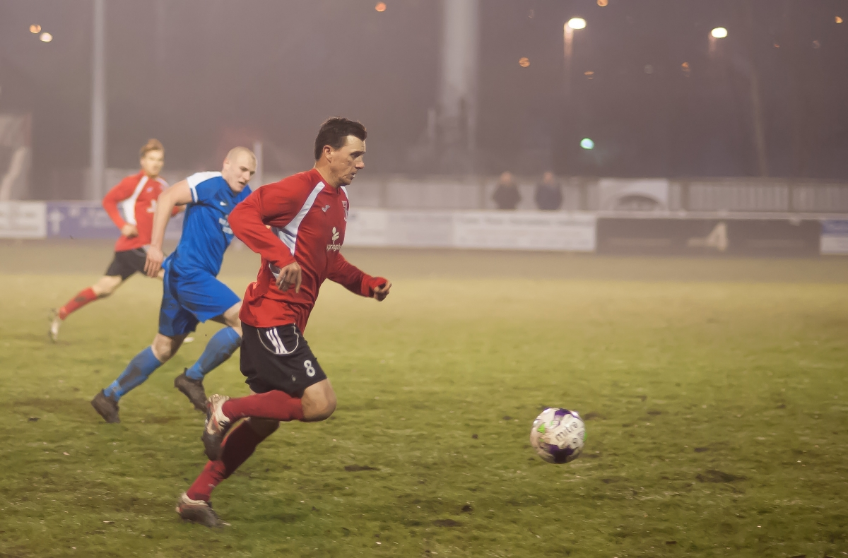 RCA's hat-trick hero Colin Larkin in action at a foggy UTS Stadium. Photograph: Simon Mears.