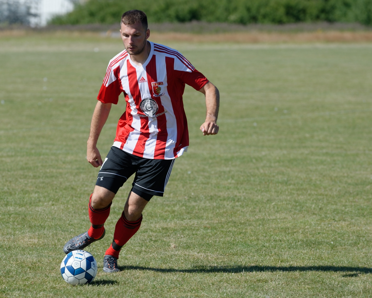 Mark Davidson in action in the pre season friendly against Northumbria Police